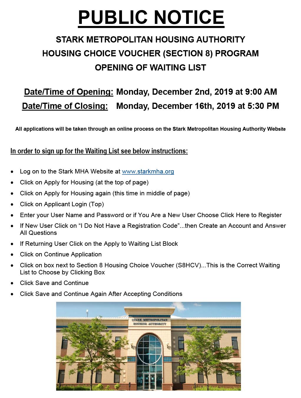 Public Notice Housing Choice Voucher Section 8 Waiting List Opening Stark Metropolitan Housing Authority Smha
